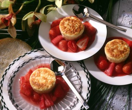 Individual Rice Puddings with Strawberry-Rhubarb Compote