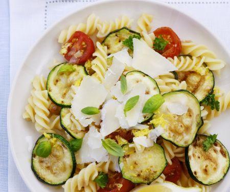 Italian Pasta Salad with Zucchini, Tomato and Parmesan