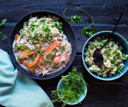Jackfruit Fricassee with Pea Rice