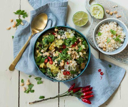 Keto Tofu Vegetable Curry with Cauliflower Rice