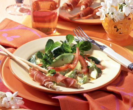 Lamb's Lettuce Salad with Avocado, Tomatoes and Prosciutto-wrapped Grissini