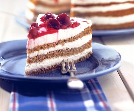Layered Buckwheat Cake with Cherries
