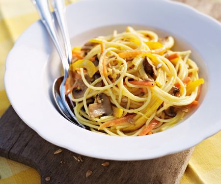 Lemon Pasta with Vegetables and Mushrooms