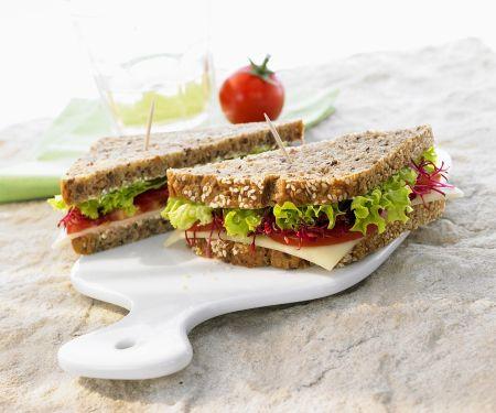 Lettuce, Tomato and Cheese Sandwich on Whole-grain Bread