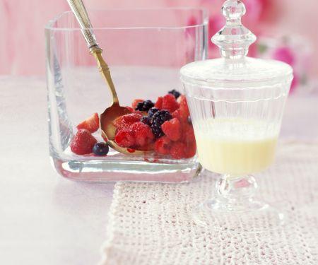 Marinated Berries with Custard