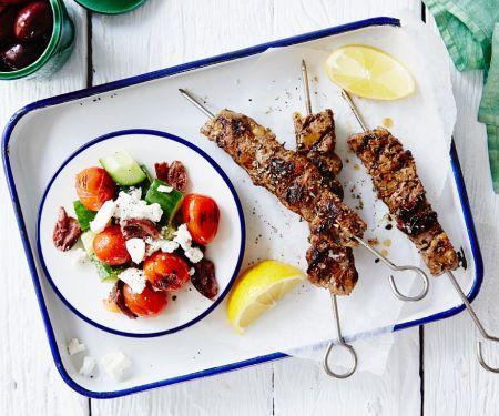 Marinated Pork Skewers with Greek Salad