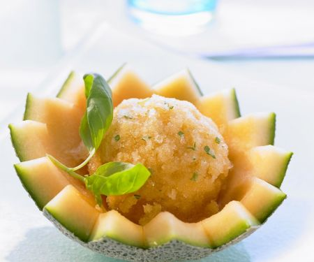 Melon and Basil Sorbet