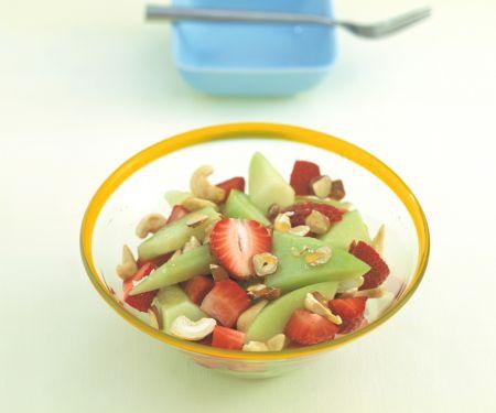 Melon-Strawberry Salad with Hazelnuts