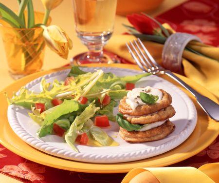 Mozzarella Pancake Stacks and Dandelion Salad