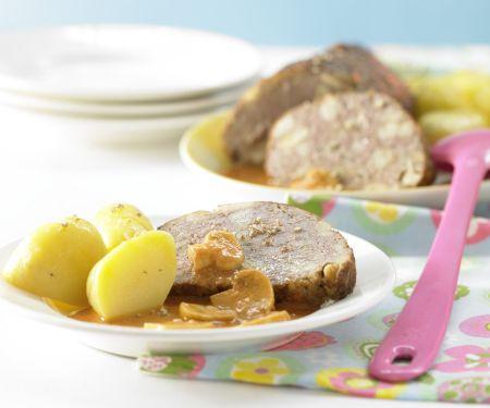Mushroom Meatloaf with Cream Gravy