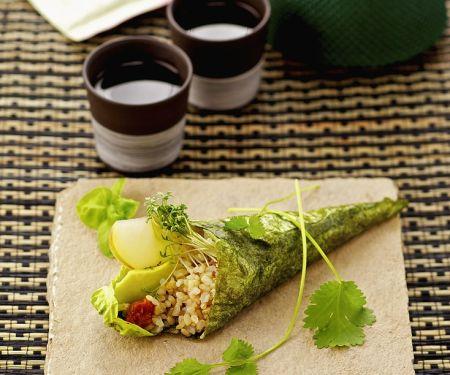 Nori, Rice, Avocado and Apple Roll