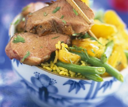 Oriental Duck with Rice and Beans