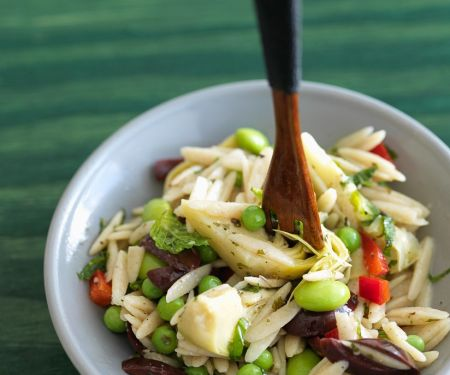 Orzo Salad with Artichokes, Olives and Peppers