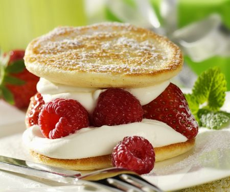 Pancakes with Fresh Raspberries and Whipped Cream