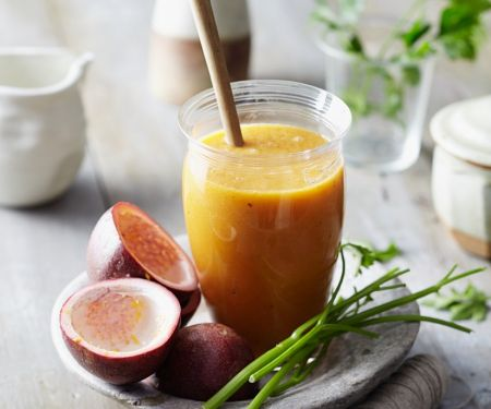 Passion Fruit Smoothie with Papaya and Parsley