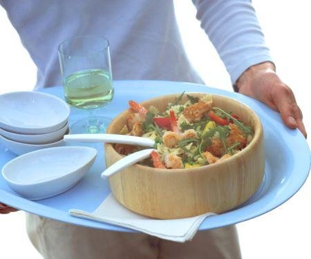Pasta Salad with Shrimp and Breaded Turkey