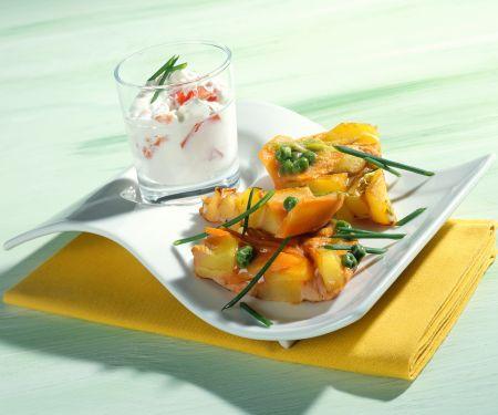 Pea and Potato Tortilla with Creamy Tomato Dip