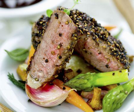 Peppercorn Steak with Vegetable Medley