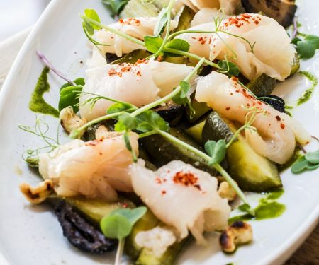 Perch Ceviche with Pickles and Nuts