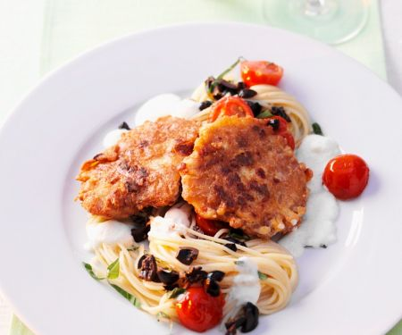 Piccata with Tomatoes, Pasta and Olives