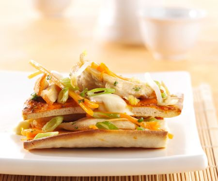 Pizza with Chicken, Vegetables and Peanut Ginger Sauce