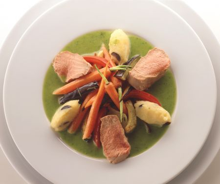 Poached Lamb with Olive Dumplings and Vegetables