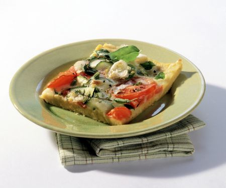 Polenta Pizza with Tomatoes and Zucchini