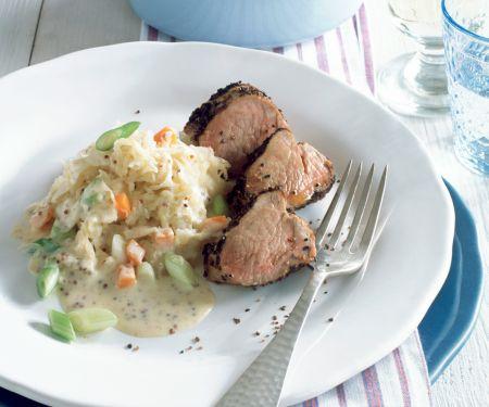 Pork with Sauerkraut and Mustard-cream Sauce