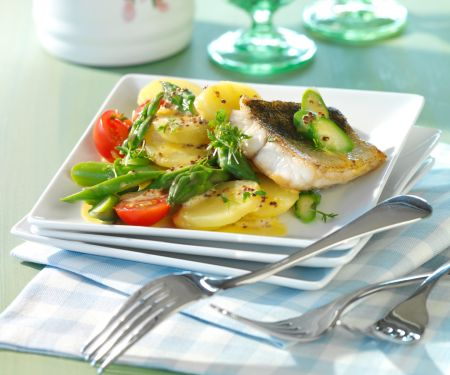 Potato and Asparagus Salad with Perch Fillet