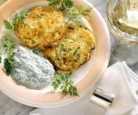 Potato and Zucchini Latkes with Herb Yogurt