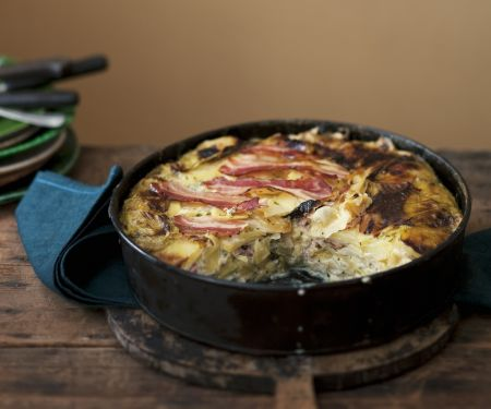Potato Gratin with Bacon and Cabbage