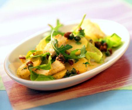 Potato Salad with Fish, Dried Tomatoes and Arugula