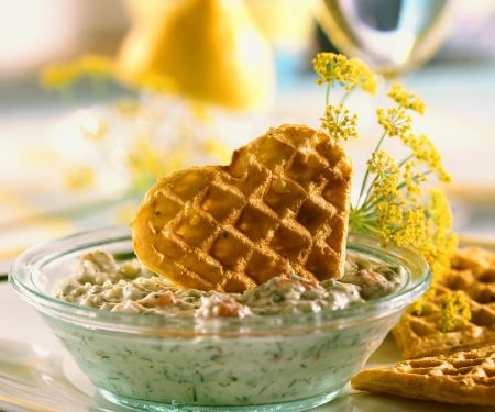 Potato Waffles with Zucchini Tzatziki