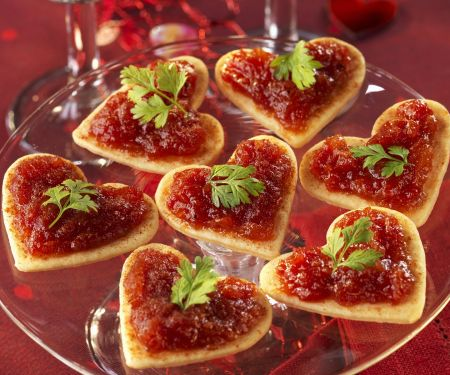 Puff Pastry Hearts with Tomato Spread