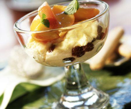 Quark Cream with Peach Compote