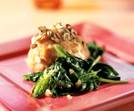 Quark Oatmeal Dumplings with Spinach