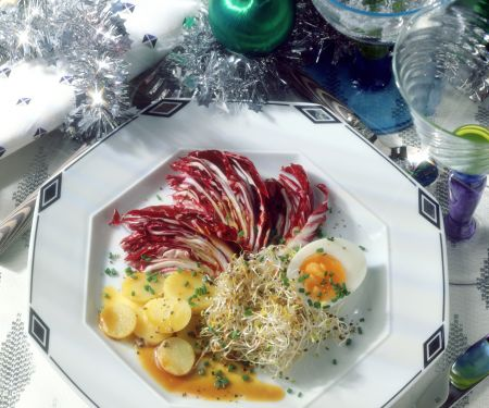 Radicchio Salad with Potatoes, Eggs and Alfalfa Sprouts