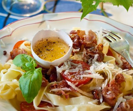 Ribbon Pasta with Bacon and Cheese