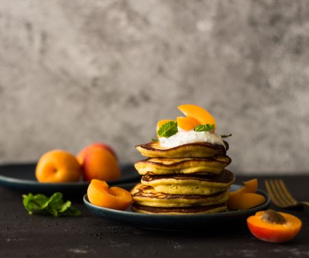 Ricotta Pancakes with Apricots