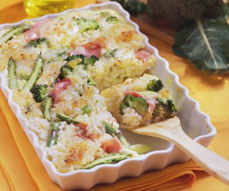 Risotto Gratin with Broccoli and Asparagus