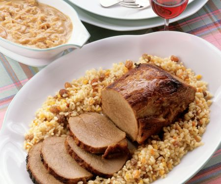 Roast Beef with Onion Sauce and Vegetable Rice