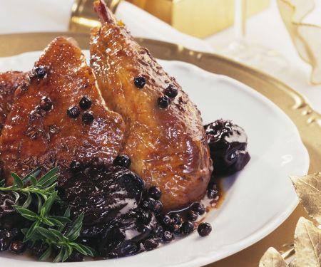 Roast Duck with Red Wine Prunes and Juniper Berries