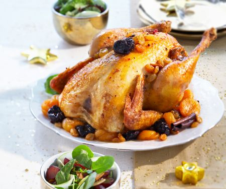 Roasted Capon Stuffed with Dried Fruit and Cinnamon Sticks