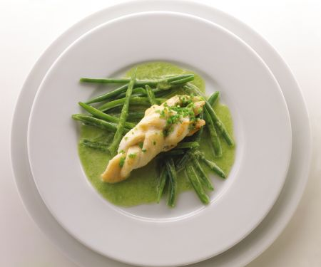 Roasted Fish with Bean Puree