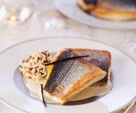 Roasted Sea Bass with Rice and Custard Sauce