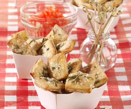 Rosemary and Sea Salt Crackers with Tomato Relish