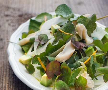 Salad with Fennel, Sorrel, Avocado and Trout