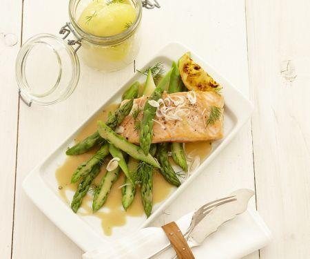 Salmon and Asparagus with Honey-Lemon Sauce