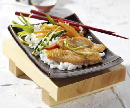 Salmon with Wasabi-soy Marinade and Vegetable Rice