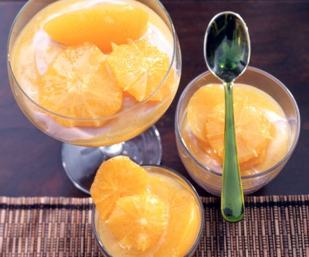 Sangria Mousse with Orange Peach Compote